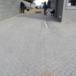 Cement interlockers in herringbone pattern